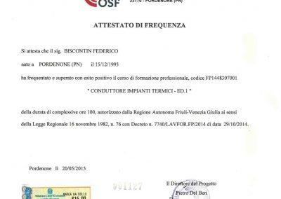 Attestato Conduttore Impianti Termici Biscontin e Marcon